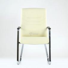 Кресло Barneo K-25 для посетителей и переговорных, хром, бежевая кожа