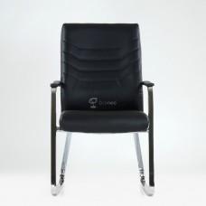 Кресло Barneo K-25 для посетителей и переговорных, хром, черная кожа