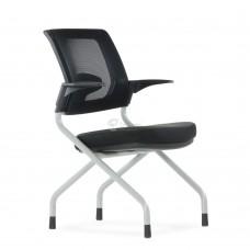 Кресло Barneo K-27 для конференц зала стопируемый, ткань сетка черная, спинка черная