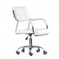 Кресло Barneo K-29 на колесиках, хром, белая кожа
