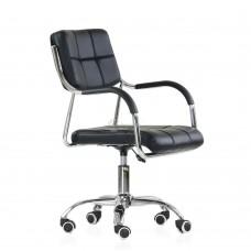 Кресло Barneo K-29 на колесиках, хром, черная кожа