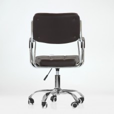Кресло Barneo K-29 на колесиках, хром, коричневая кожа A23