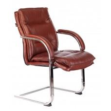 Кресло Бюрократ T-9927SL-LOW-V светло-коричневый Leather Eichel кожа низк.спин. полозья металл хром