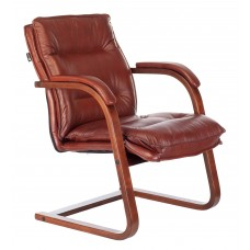 Кресло Бюрократ T-9927WALNUT-AV светло-коричневый Leather Eichel кожа полозья дерево