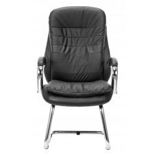 Кресло Бюрократ T-9950AV черный кожа/кожзам полозья металл хром