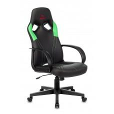 Кресло игровое Zombie RUNNER черный/зеленый искусственная кожа крестовина пластик