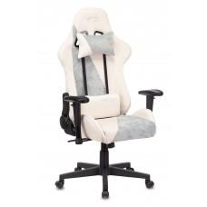 Кресло игровое Zombie VIKING X Fabric белый/серо-голубой с подголов. крестовина пластик