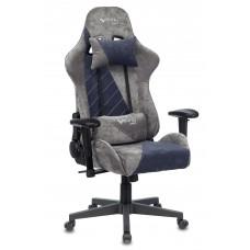 Кресло игровое Zombie VIKING X Fabric серый/темно-синий с подголов. крестовина пластик