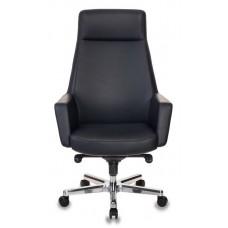 Кресло руководителя Бюрократ _Antonio черный кожа крестовина алюминий
