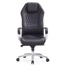 Кресло руководителя Бюрократ _Aura черный кожа крестовина алюминий