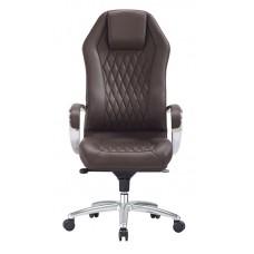 Кресло руководителя Бюрократ _Aura коричневый кожа крестовина алюминий