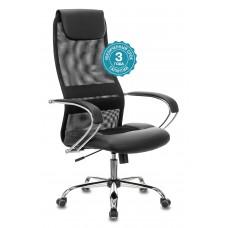 Кресло руководителя Бюрократ CH-608SL черный TW-01 TW-11 искусст.кожа/сетка/ткань с подголов. крестовина металл хром