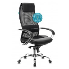 Кресло руководителя Бюрократ CH-609SL черный TW-01 TW-11 искусст.кожа/сетка/ткань с подголов. крестовина металл хром