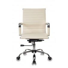 Кресло руководителя Бюрократ CH-883-LOW слоновая кость искусственная кожа низк.спин. крестовина металл хром