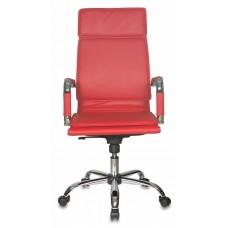 Кресло руководителя Бюрократ CH-993 красный искусственная кожа крестовина металл хром