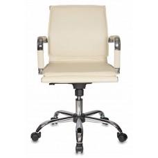 Кресло руководителя Бюрократ Ch-993-Low слоновая кость искусственная кожа низк.спин. крестовина металл хром