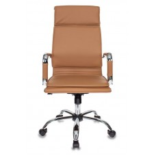 Кресло руководителя Бюрократ Ch-993 светло-коричневый искусственная кожа крестовина металл хром
