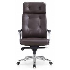 Кресло руководителя Бюрократ _DAO коричневый кожа крестовина алюминий