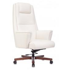 Кресло руководителя Бюрократ _DUKE белый кожа крестовина металл/дерево