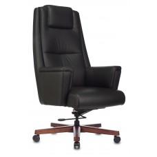 Кресло руководителя Бюрократ _DUKE черный кожа крестовина металл/дерево