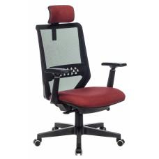 Кресло руководителя Бюрократ EXPERT черный TW-01 сиденье красный 38-410 сетка/ткань с подголов. крестовина пластик