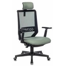 Кресло руководителя Бюрократ EXPERT черный TW-01 сиденье зеленый 38-407 сетка/ткань с подголов. крестовина пластик