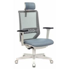 Кресло руководителя Бюрократ EXPERT серый сиденье голубой 38-405 сетка/ткань с подголов. крестовина пластик пластик белый