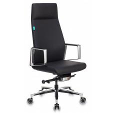 Кресло руководителя Бюрократ _JONS черный кожа крестовина алюминий