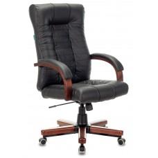 Кресло руководителя Бюрократ KB-10WALNUT черный кожа крестовина металл/дерево