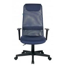 Кресло руководителя Бюрократ KB-8 синий TW-05N TW-10N сетка/ткань с подголов. крестовина пластик