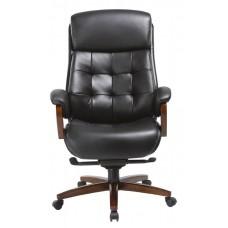 Кресло руководителя Бюрократ _Mega черный кожа крестовина металл/дерево