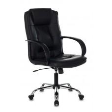 Кресло руководителя Бюрократ T-800N черный кожа крестовина металл хром