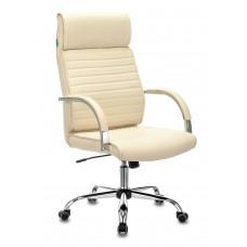 Кресло руководителя Бюрократ T-8010N слоновая кость OR-10 искусственная кожа крестовина металл хром