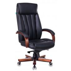 Кресло руководителя Бюрократ T-9922WALNUT черный кожа крестовина металл/дерево