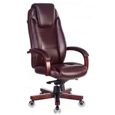 Кресло руководителя Бюрократ T-9923WALNUT коричневый кожа крестовина металл/дерево