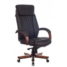 Кресло руководителя Бюрократ T-9924WALNUT черный кожа крестовина металл/дерево