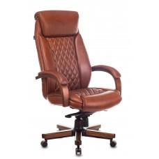 Кресло руководителя Бюрократ T-9924WALNUT светло-коричневый Leather Eichel кожа крестовина металл/дерево