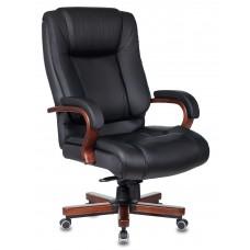 Кресло руководителя Бюрократ T-9925WALNUT черный кожа крестовина металл/дерево