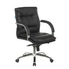 Кресло руководителя Бюрократ T-9927SL-LOW черный кожа низк.спин. крестовина металл хром