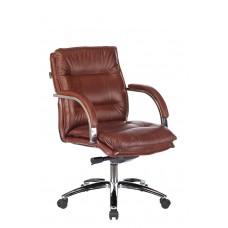 Кресло руководителя Бюрократ T-9927SL-LOW светло-коричневый Leather Eichel кожа низк.спин. крестовина металл хром