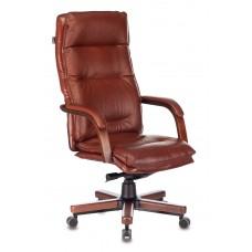 Кресло руководителя Бюрократ T-9927WALNUT светло-коричневый Leather Eichel кожа крестовина металл/дерево