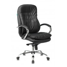 Кресло руководителя Бюрократ T-9950 черный кожа крестовина металл хром