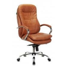 Кресло руководителя Бюрократ T-9950 рыжий Leather Ontano кожа крестовина металл хром