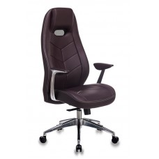 Кресло руководителя Бюрократ _Zen коричневый кожа крестовина алюминий