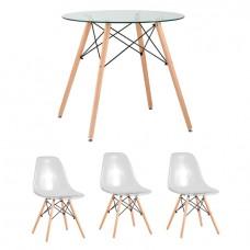 Обеденная группа Eames D80 стеклянный, 3 прозрачных стула Eames