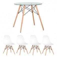 Обеденная группа Eames D80 стеклянный, 4 белых стула Eames