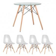 Обеденная группа Eames D80 стеклянный, 4 прозрачных стула Eames