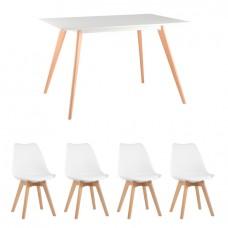 Обеденная группа Frank, 4 белых стула Frankfurt