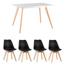 Обеденная группа Frank, 4 черных стула Frankfurt