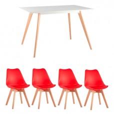 Обеденная группа Frank, 4 красных стула Frankfurt